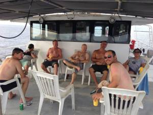 Post dive drinks and chat - photo by Mike Ferguson